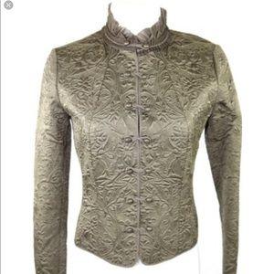 Elie Tahari Olive Green 100% Silk Jacket Womens L